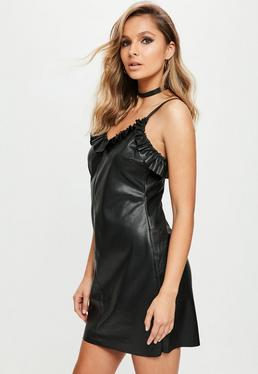 Black Ruffle Faux Leather Slip Dress