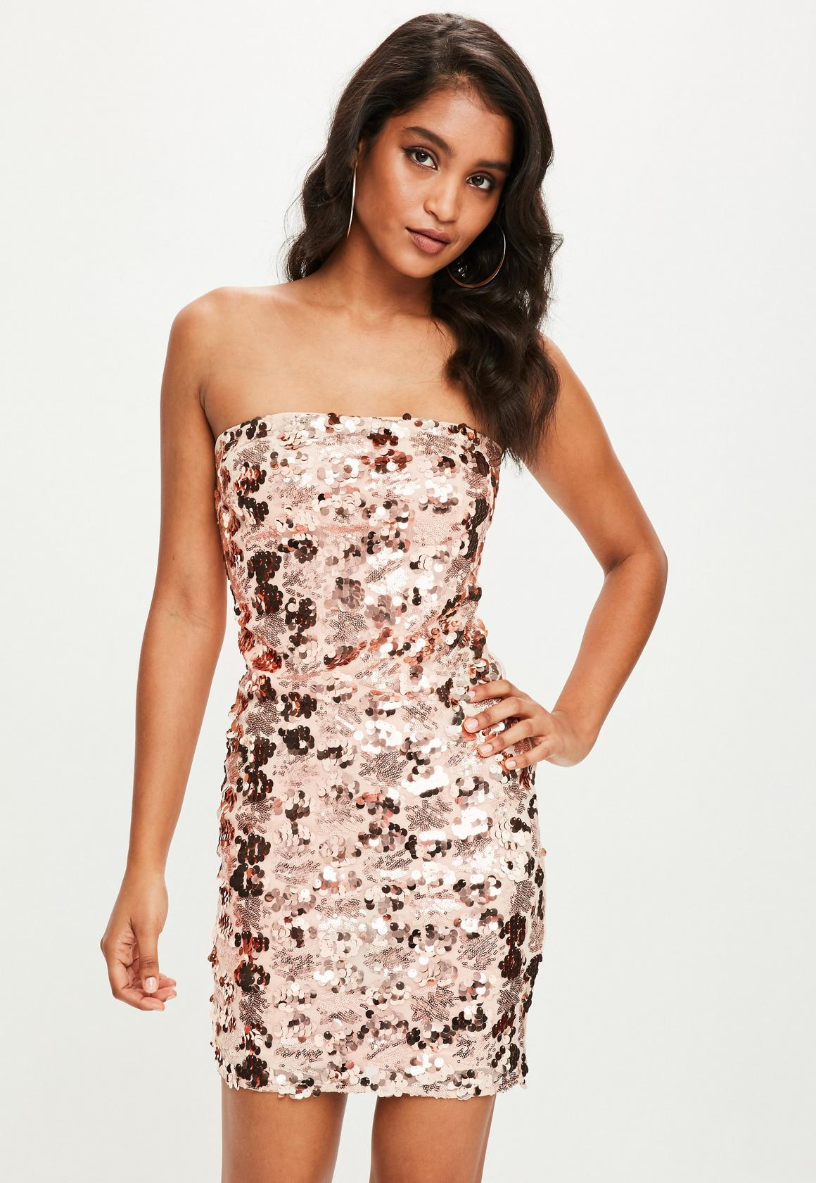 Rose Gold Sequin Strapless Bodycon Dress | Missguided