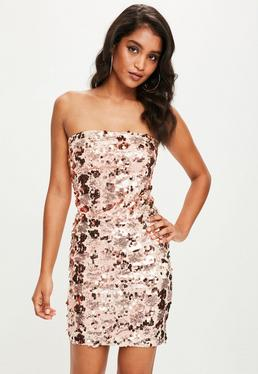 Rose Gold Sequin Strapless Bodycon Dress