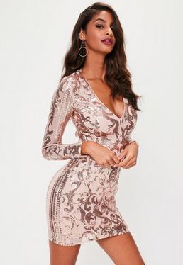 Nude Sequin Detail Bodycon Mini Dress