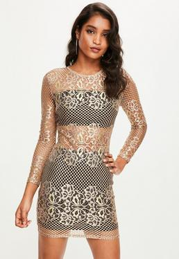 Gold Sheer Panel Lace Bodycon Dress