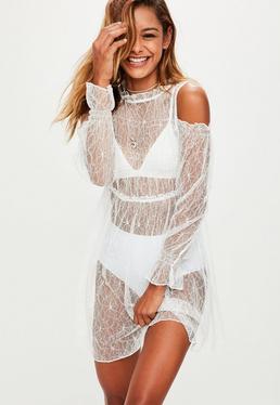 White Sheer Lace Cold Shoulder Dress