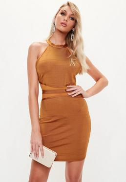 Gold Bandage Bodycon Mini Dress
