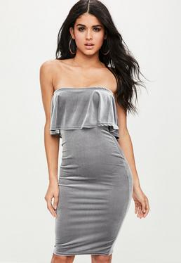Grey Velvet Frill Bandeau Dress