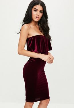 Burgundy Velvet Frill Bandeau Dress