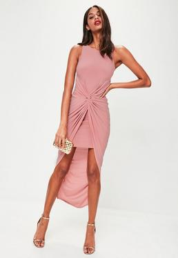 Pink Knot Front Maxi Dress