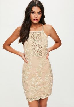 Nude Gold Lace Cami Bodycon Dress