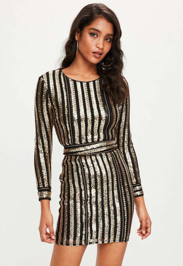 Black Sequin Striped Bodycon Dress