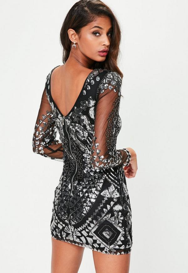 Black Sequin Long Sleeved Bodycon Dress Missguided