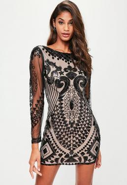 Nude Sequin Long Sleeved Bodycon Dress