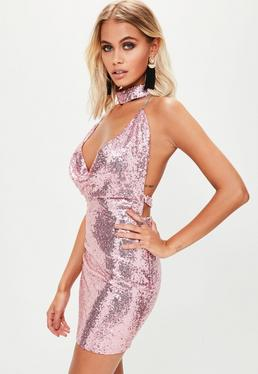 Pink Choker Sequin Dress