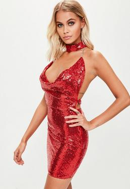 Red Choker Sequin Dress