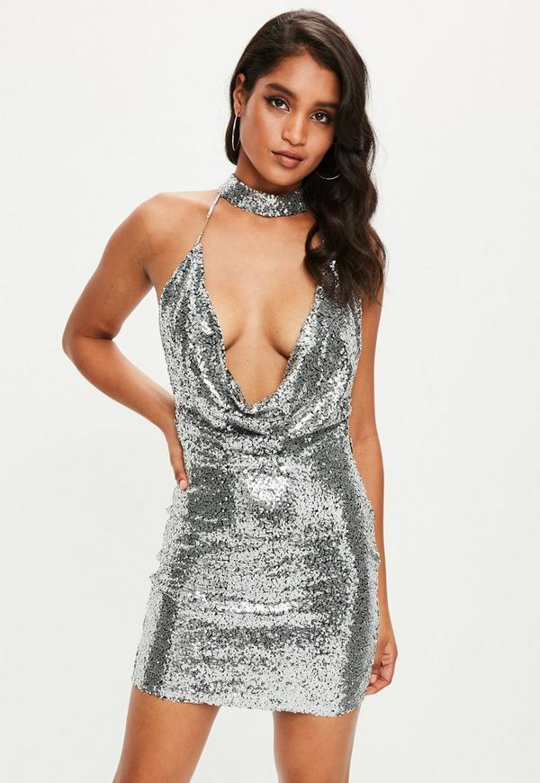 Silver Sequin Plunge Dress Missguided