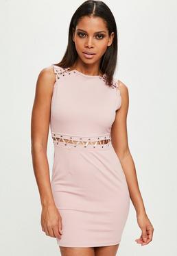 Pink Lace Up Mini Dress