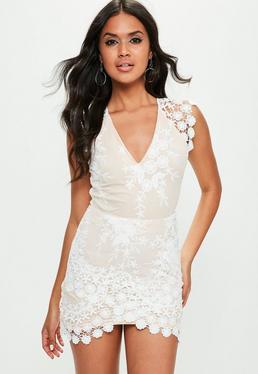 Nude Plunge Wrap Lace Dress