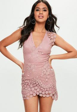 Pink Plunge Wrap Lace Mini Dress