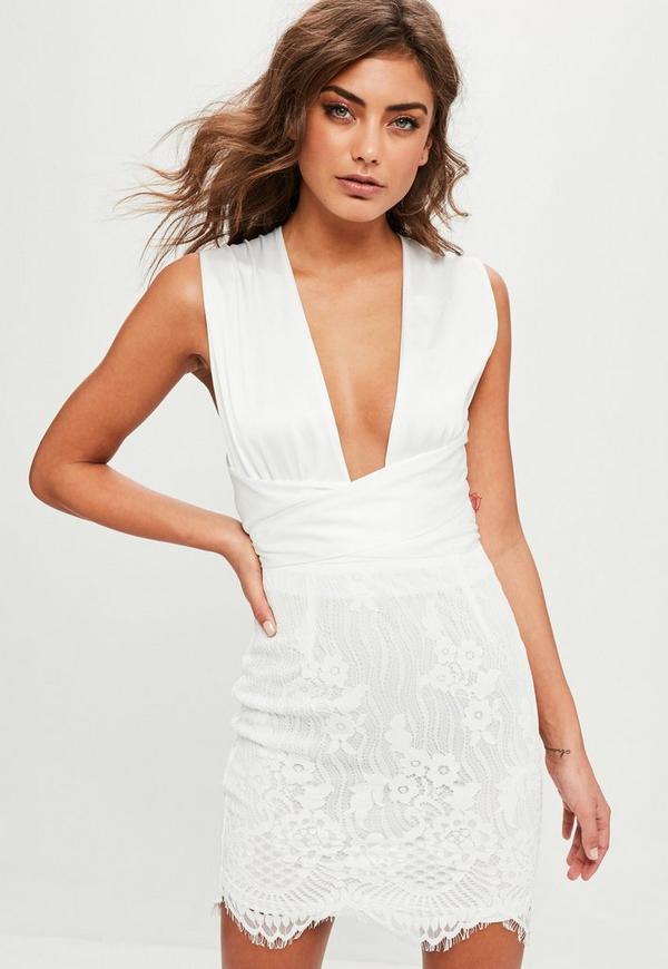 Robe blanche d collet plongeant et dentelle missguided - Code promo blanche porte 50 et port gratuit ...
