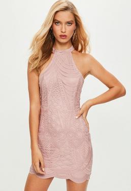 Pink High Neck Cut Out Dress