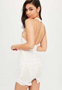 White High Neck Cut Out Dress