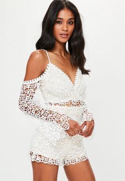 White Cold Shoulder Lace Playsuit