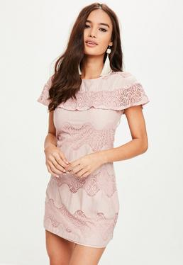Purple Short Sleeve Lace Mini Dress