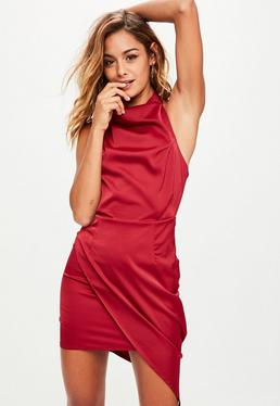 Burgundy Halterneck Wrap Over Dress
