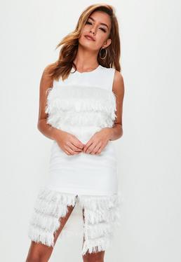 White Tassel Front Dress