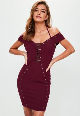 Burgundy Metal Bar Detail Eyelet Dress