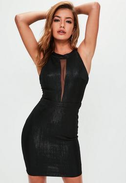 Black Lurex Mesh Insert Dress