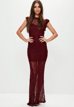 Red Lace High Neck Maxi Dress