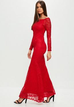 Red Lace Fishtail Maxi Dress
