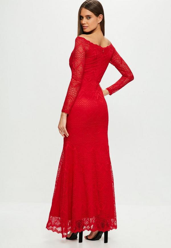2717e256f703 Red Lace Fishtail Maxi Dress. Previous Next