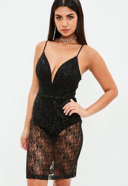Black Lace Glitter Overlay Dress