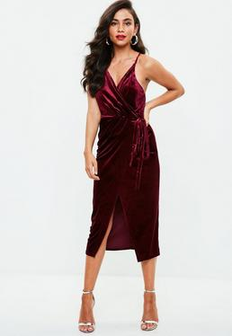 Burgundy Velvet Wrap Midi Dress