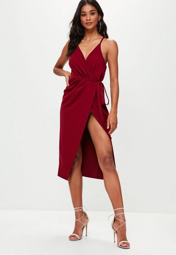 Burgundy Wrap Midi Slip Dress Missguided
