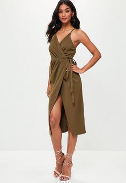 Khaki Wrap Midi Slip Dress