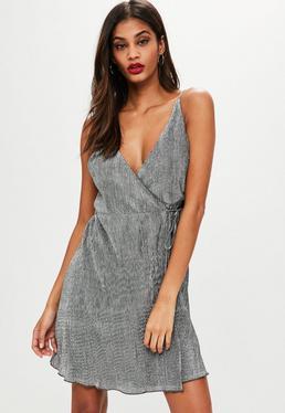Silver Metallic Slip Dress