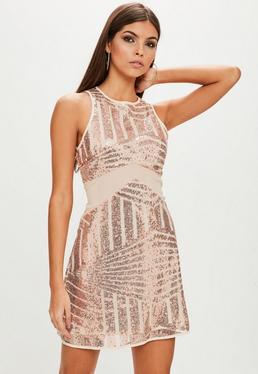 Nude Sequin Mesh Insert Dress