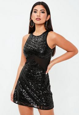 Black Sequin Mesh Insert Dress