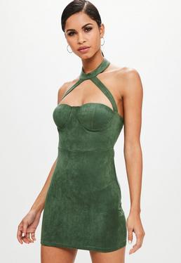 Green Faux Suede Choker Neck Dress