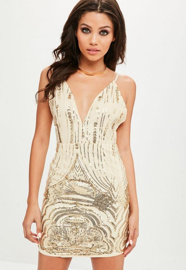 Gold Sequin Cami Dress | Missguided