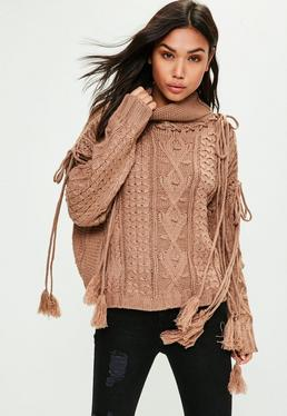 Camel Tassel Sleeve Tie Knitted Sweater