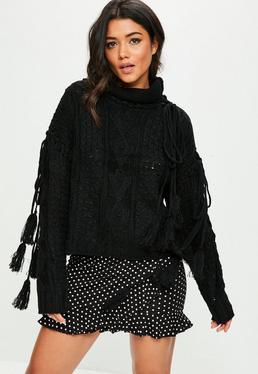 Black Tassel Sleeve Tie Knitted Sweater