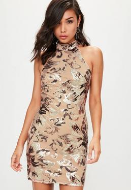 Rose Gold Sequin Sleeveless Bodycon Dress