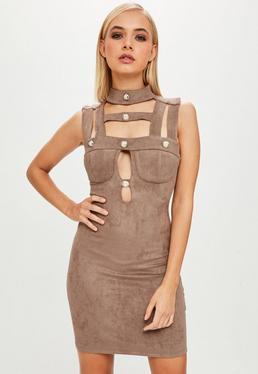 Taupe Suedette Bodycon Button Dress