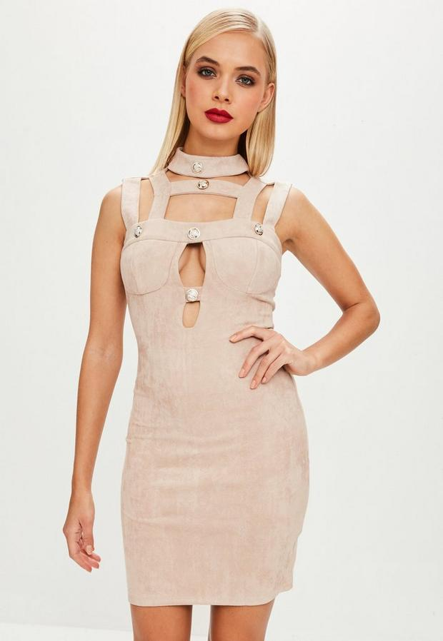 Product photo of Beige faux suede bodycon button dress beige