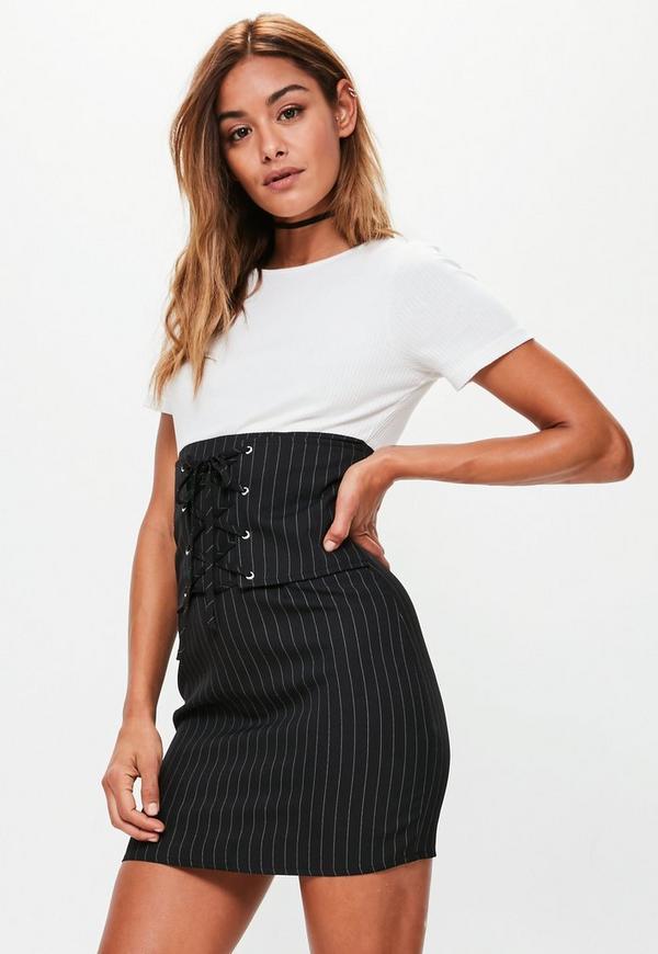 Black Pinstripe Mini Dress Missguided