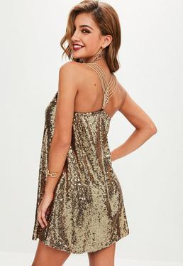 Gold Sequin Cami Dress