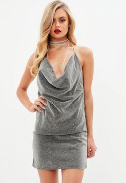 Gray Diamante Cowl Halter Neck Detail Dress