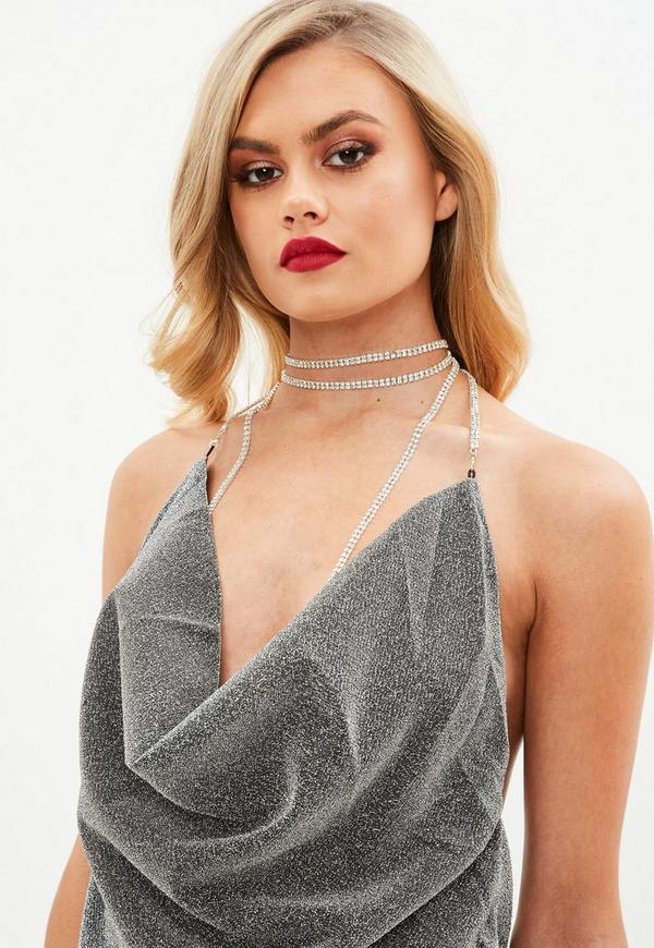 Grey Diamante Cowl Halter Neck Detail Dress Missguided